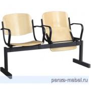 Блок стульев 2-местный, откидывающиеся сиденья, с подлокотниками