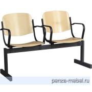 Блок стульев 2-местный, неоткидавыющиеся сиденья, с подлокотниками