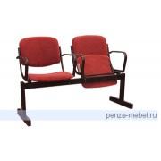 Блок стульев 2-местный, откидывающ. сиденья, мягкий, подлокотники