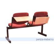 Блок стульев 2-местный, не откид., мягкий, подлокотники, лекционный