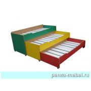 Кровать детская трехъярусная выкатная без тумбы (Цветная)