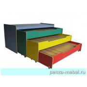 Кровать детская трехъярусная выкатная с тумбой цветная.